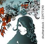 floral girl | Shutterstock .eps vector #22977190