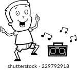 a happy cartoon boy dancing and ... | Shutterstock .eps vector #229792918