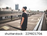 young handsome bearded hipster...   Shutterstock . vector #229821706