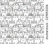 christmas cats seamless pattern   Shutterstock .eps vector #229853206