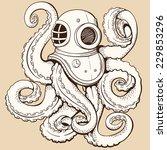 octopus in retro deep diving... | Shutterstock .eps vector #229853296