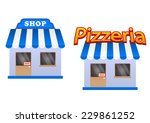 cartoon store and pizzeria... | Shutterstock .eps vector #229861252