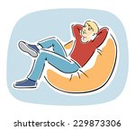young blond guy sitting... | Shutterstock . vector #229873306