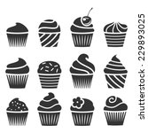 set of cupcakes. | Shutterstock .eps vector #229893025