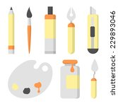 set of  flat icons for painting | Shutterstock .eps vector #229893046