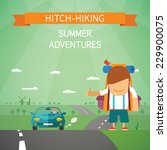 hitchhiking vector concept with ... | Shutterstock .eps vector #229900075