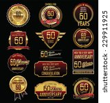 anniversary golden label... | Shutterstock .eps vector #229911925