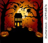 halloween card with castle ... | Shutterstock . vector #229918876