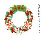 christmas wreath with white... | Shutterstock .eps vector #229932466