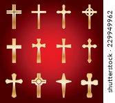 an illustrated set of 12 golden ...   Shutterstock .eps vector #229949962