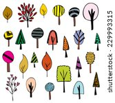cute of tree sketch on white... | Shutterstock .eps vector #229993315