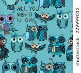 Hand Drawn Owl Seamless Pattern