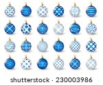 Set Of Blue Christmas Balls