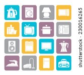 silhouette home equipment icons ... | Shutterstock .eps vector #230016265
