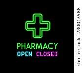 pharmacy neon sign on black... | Shutterstock .eps vector #230016988