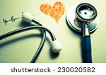 stethoscope with heart drawing  ... | Shutterstock . vector #230020582