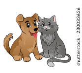vector cute dog and cat | Shutterstock .eps vector #230033626