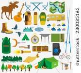 set camping icon  hiking ... | Shutterstock .eps vector #230035162