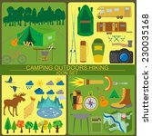 set camping icon  hiking ... | Shutterstock .eps vector #230035168