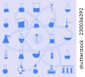 glassware on blue background... | Shutterstock . vector #230036392