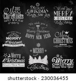 vintage merry christmas labels | Shutterstock .eps vector #230036455