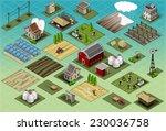 isometric building farm village ... | Shutterstock .eps vector #230036758