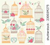 Set With Vintage Bird Cage.