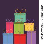 stack of colorful christmas... | Shutterstock .eps vector #230049805