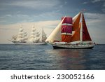 sailing ships regatta. seascape.... | Shutterstock . vector #230052166