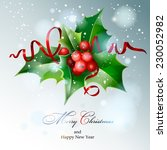 christmas holly. vector  eps 10. | Shutterstock .eps vector #230052982