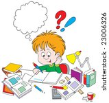 schoolboy with homework | Shutterstock .eps vector #23006326