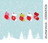 hanging socks in snowy winter...   Shutterstock .eps vector #230065426