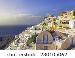 amazing village of oia with... | Shutterstock . vector #230105062
