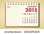 january 2015 calendar notebook... | Shutterstock .eps vector #230109205