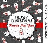 snowmen in santa claus hats... | Shutterstock .eps vector #230115976