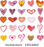 trendy hearts | Shutterstock .eps vector #23016865