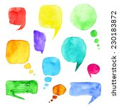 set of watercolor hand drawn... | Shutterstock . vector #230183872