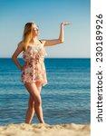 vacation. girl in summer dress... | Shutterstock . vector #230189926