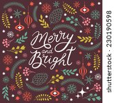 merry and bright lettering  | Shutterstock .eps vector #230190598