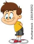 smiling kid looking down | Shutterstock .eps vector #230193052