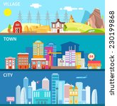 city  town and village... | Shutterstock .eps vector #230199868