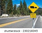 Bear Warning Road Sign On...