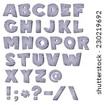 Cartoon Stone Alphabet ...