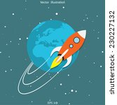 vector flat rocket around the... | Shutterstock .eps vector #230227132