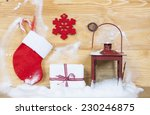 christmas decorations on rustic ... | Shutterstock . vector #230246875