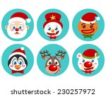 cute christmas character icons | Shutterstock .eps vector #230257972