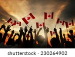 Group Of People Waving Canadia...