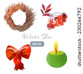 winter time. watercolor vector... | Shutterstock .eps vector #230266792