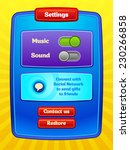 game ui. settings screen. a...