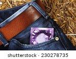 condom packet in jeans pocket...   Shutterstock . vector #230278735